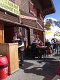 Skiers enjoy an outdoor lunch Stock Photos