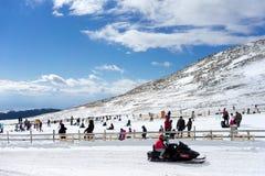 Skiers enjoy the snow at Kaimaktsalan ski center, in Greece. Rec Royalty Free Stock Photography