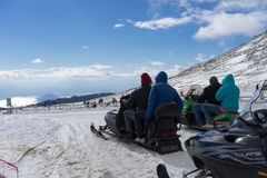 Skiers enjoy the snow at Kaimaktsalan ski center, in Greece. Rec Stock Photo