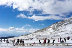 Skiers enjoy the snow at Kaimaktsalan ski center, in Greece. Rec Royalty Free Stock Images