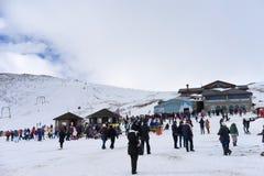 Skiers enjoy the snow at Kaimaktsalan ski center, in Greece. Rec Stock Images