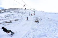 Skiers enjoy the snow at Kaimaktsalan ski center, in Greece. Rec Royalty Free Stock Image