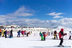 Skiers enjoy the snow at Kaimaktsalan ski center, in Greece. Rec Royalty Free Stock Photo