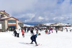Skiers enjoy the snow at Kaimaktsalan ski center, in Greece. Rec Royalty Free Stock Photos
