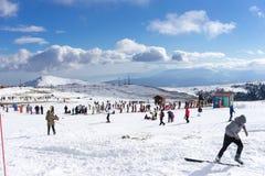 Skiers enjoy the snow at Kaimaktsalan ski center, in Greece. Rec Stock Photography