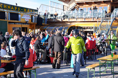 Skiers enjoying afterparty in Austria Royalty Free Stock Images
