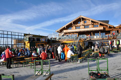 Skiers enjoying afterparty in Austria Stock Image
