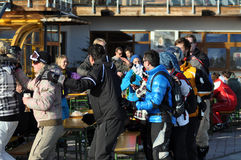 Skiers enjoying afterparty in Austria Stock Photo