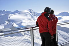 Skiers enjoying the winter panorama, Austria Royalty Free Stock Image