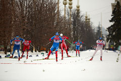 Skiers during FIS Continental Cup ski racing Royalty Free Stock Image