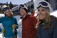 Skiers In Front Of Resort Royalty Free Stock Photo