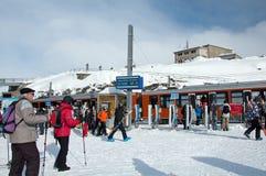 Skiers on the Gornergrat Station Stock Photography