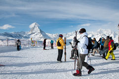 Skiers on the Gornergrat, swiss Alps Stock Photos