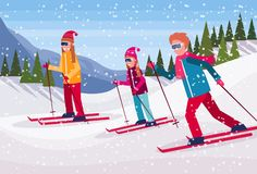 Skiers group sliding down snowy mountain fir tree forest landscape background people skiing winter vacation flat. Horizontal vector illustration royalty free illustration