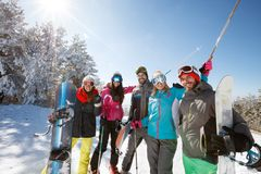 Skiers group together on snow. Happy skiers group together on snow Stock Image
