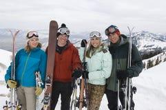 Skiers Holding Skis Stock Photos