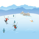 Skiers i bergen Stock Illustrationer