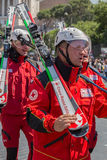Skiers of the Italian Red Cross stock photography