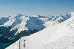Skiers on Kasprowy Wierch. Royalty Free Stock Photography