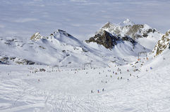Skiers in Kitzsteinhorn ski resort, Austrian Alps Stock Images