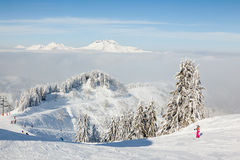 Skiers on Le Ranfoilly, Morzine Royalty Free Stock Photos