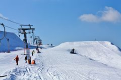 Skiers on the lift Royalty Free Stock Images