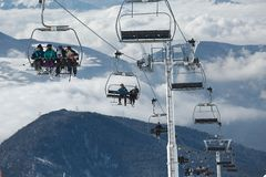 Skiers on lift Stock Image