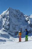 Skiers makes a break and enjoy the view. Alpine skiing in solda italy - southtyrol alps - ortles - gran zebru Stock Photography