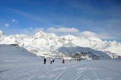 Skiers in the Matterhorn ski paradise Royalty Free Stock Photos