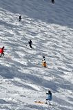 Skiers on a mogul field Stock Image