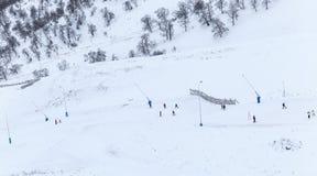 Skiers on the mountain Didveli Royalty Free Stock Photos