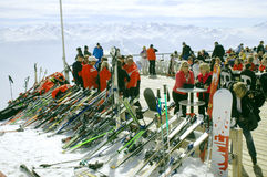 Skiers at mountain top Stock Photography