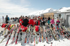 Skiers at mountain top Royalty Free Stock Image