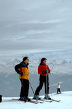 Skiers at mountain top Stock Photos
