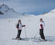 Skiers mountains Royalty Free Stock Photo