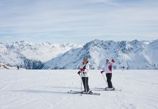 Skiers mountains Stock Images