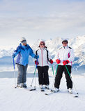 Skiers mountains in the background Royalty Free Stock Photography