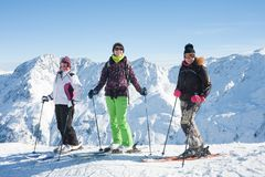 Skiers mountains in the background Stock Image