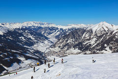 Skiers at mountains ski resort Bad Gastein Austria Royalty Free Stock Photos