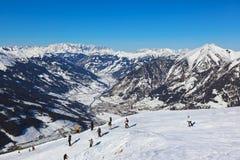 Skiers at mountains ski resort Bad Gastein Austria Royalty Free Stock Photos