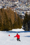 Skiers at mountains ski resort Bad Hofgastein Austria Stock Photography