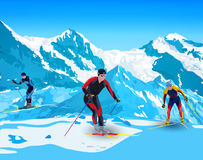 Skiers in mountains Stock Image