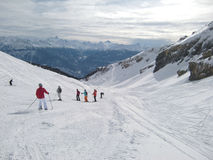 Skiers on mountainside Stock Photography