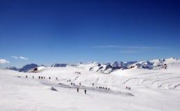 Skiers on mountainside Royalty Free Stock Photo