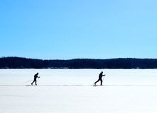Nordic skiing on frozen lake. Skiers nordic skiing on frozen lake winter trail Royalty Free Stock Photo