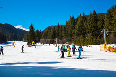 Skiers On The Slope In Bansko, Bulgaria Royalty Free Stock Image