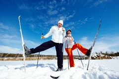 Skiers in park Royalty Free Stock Image