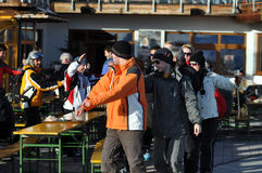 Skiers at a party in the Austrian Alps Stock Image