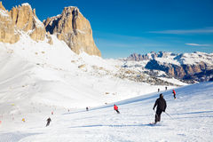 Skiers on a Piste Royalty Free Stock Photography