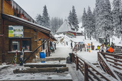 Skiers at Postavaru chalet Royalty Free Stock Images